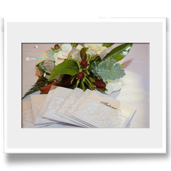Personalised table cards with thank you note trimmed with lace