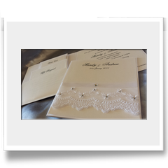 Hand Crafted with lace and ribbon invitation