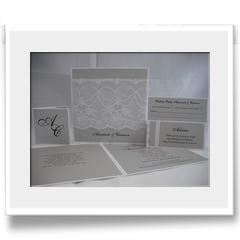 Hand Crafted with lace invitation